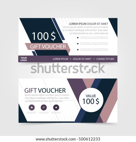 Purple Gift Voucher Template Colorful Patterncute Stock Vector