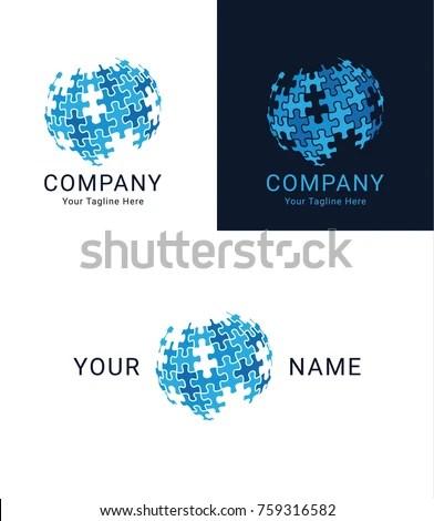 Puzzle Globe Logo Design Stock Vector (Royalty Free) 759316582