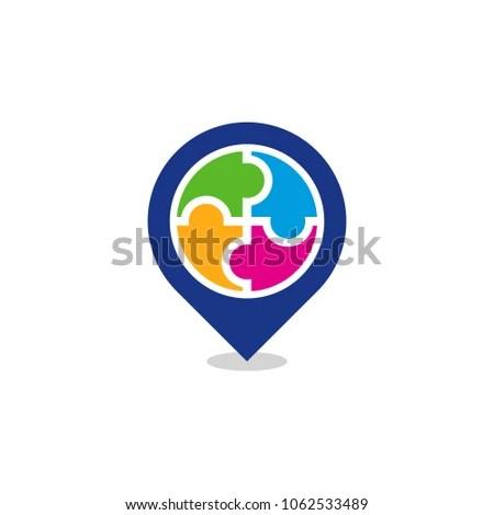 Puzzle Position Logo Icon Design Stock Vector (Royalty Free