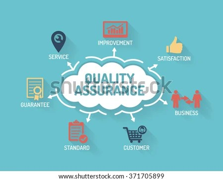 Quality Assurance Chart Keywords Icons Flat Stock Vector (Royalty