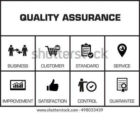 Quality Assurance Chart Keywords Icons On Stock Vector (Royalty Free