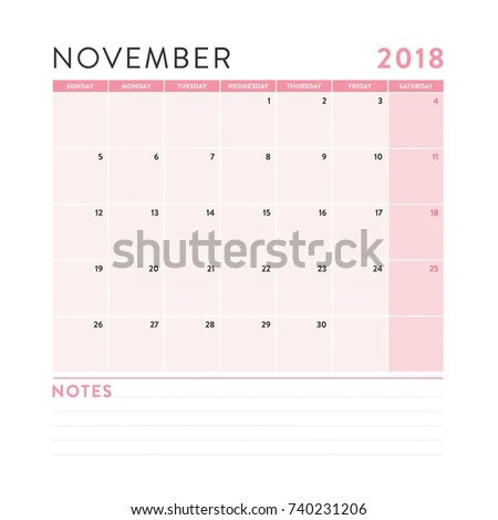 Ready Print November Monthly Yearly Calendar Stock Vector (Royalty