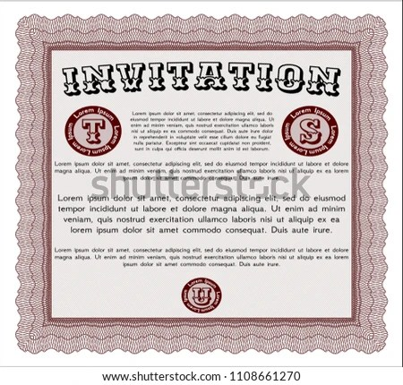 Red Invitation Template Sophisticated Design Customizable Stock