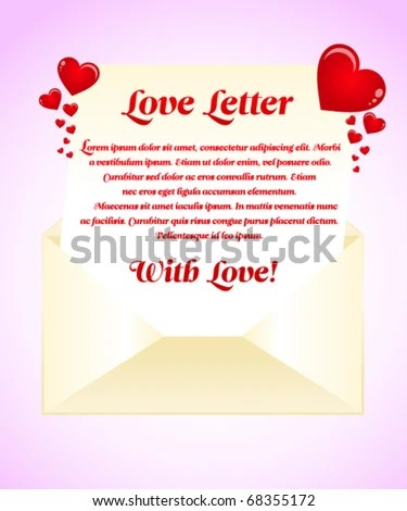 Red Love Letter Template Stock Vector (Royalty Free) 68355172