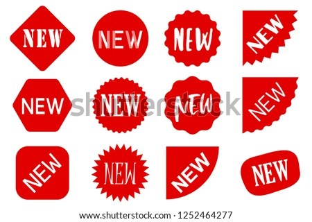 Red NEW Sale Labels Set Vector Stock Vector (Royalty Free