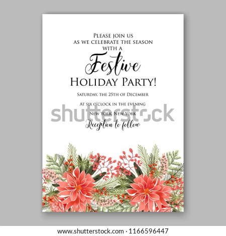 Red Poinsettia Christmas Party Invitation Winter Stock Vector