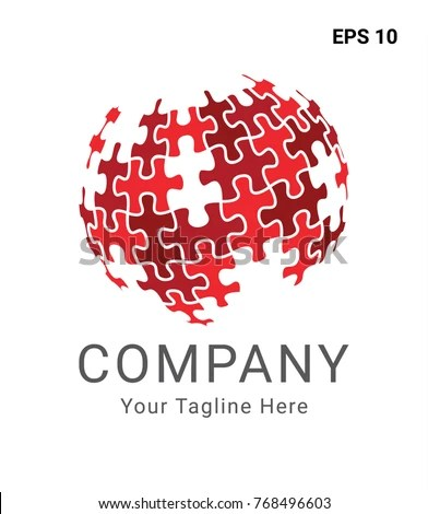 Red Puzzle Globe Logo Stock Vector (Royalty Free) 768496603