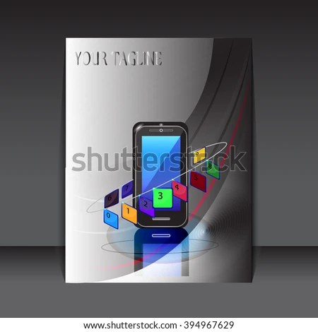 Report Cover Design Touch Phone Background Stock Vector (Royalty