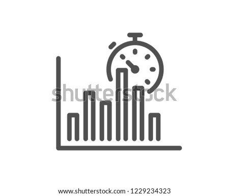 Report Timer Line Icon Column Graph Stock Vector (Royalty Free