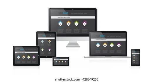 Responsive Web Design Illustration Media Devices Stock Vector - Responsive Media