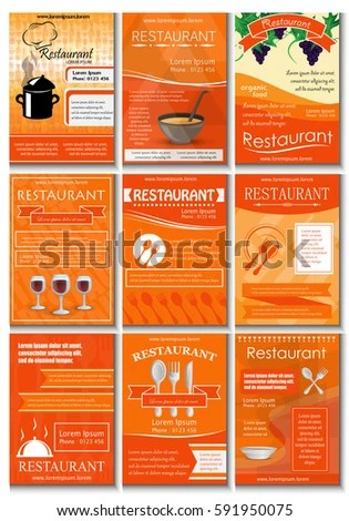 Restaurant Colored Advertising Poster Modern Style Vector Stock