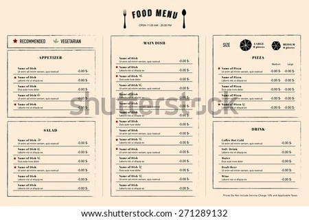 Restaurant Menu Design Template Layout Logo Stock Vector (Royalty
