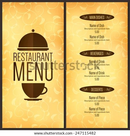 Restaurant Menu Design Vector Menu Brochure Stock Vector (Royalty