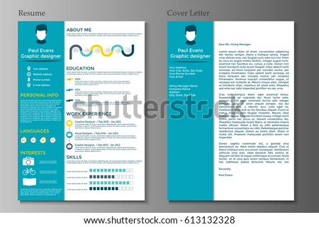 Resume Cover Letter Collection Modern CV Stock Vector (Royalty Free