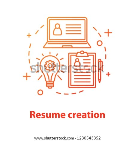 Resume Creation Concept Icon Personal Information Stock Vector