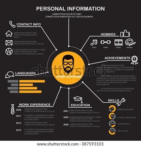 Resume Cv Template Infographics Background Element Stock Vector