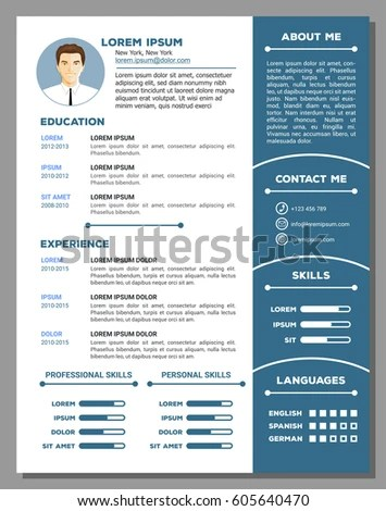 Resume Cv Vector Template Nice Creative Stock Vector (Royalty Free