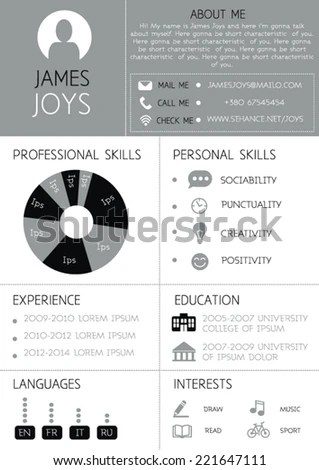 Resume Template Infographics Icons CV Vector Stock Vector (Royalty
