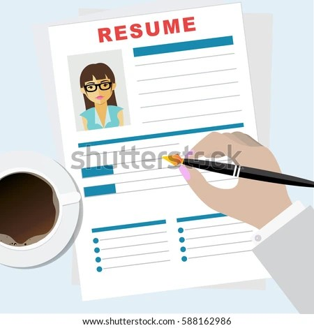 Resume Writing Concept Man Writing Business Stock Vector (Royalty