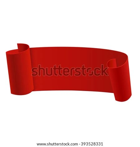 Ribbon Banner Template Beautiful Realistic Red Stock Vector (Royalty