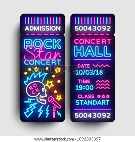 Rock Concert Ticket Design Template Modern Stock Vector (Royalty