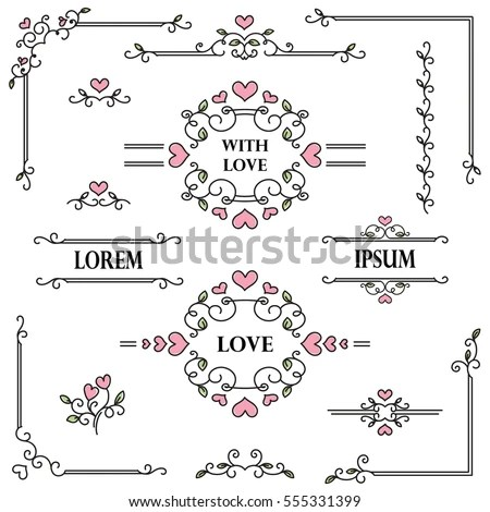 Romantic Frames Scroll Elements Floral Linear Stock Vector (Royalty