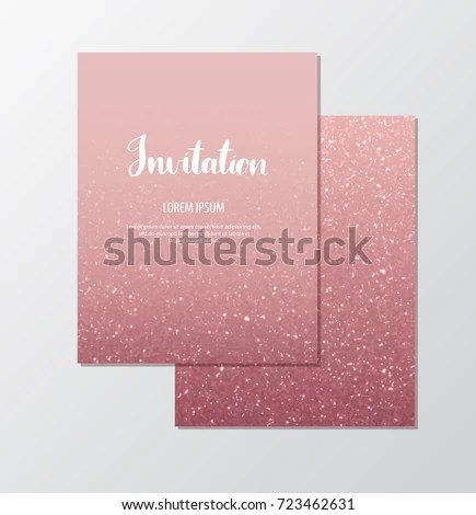 Rose Gold Glitter Invitation Template Sparkles Stock Vector (Royalty