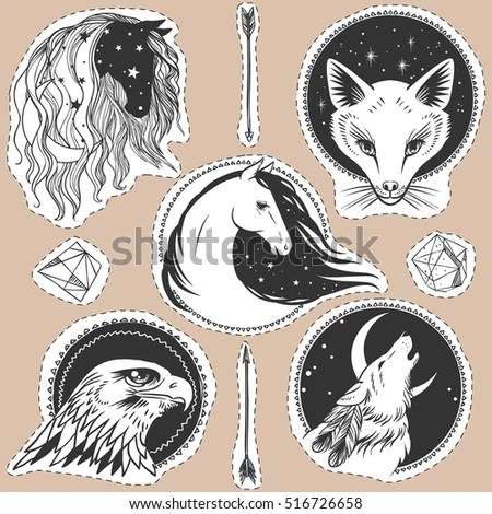 Round Templates Animals Vector Illustrations Boho Stock Vector