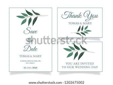 Rustic Wedding Invitation Template Little Green Stock Vector