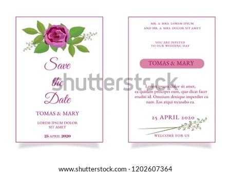 Rustic Wedding Invitation Template Rose Leaf Stock Vector (Royalty