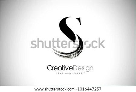 S Brush Stroke Letter Logo Design Stock Vector (Royalty Free