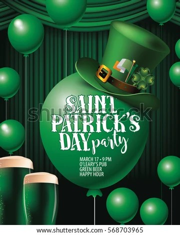 Saint Paddys Day Party Invitation Green Stock Vector (Royalty Free - 's day party invitation