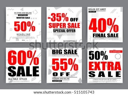 Sale Banner Templates Posters Email Newsletter Stock Vector (Royalty