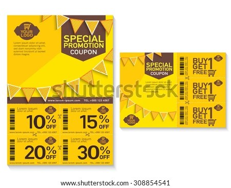Sale Flyer Promotions Coupon Banner Design Stock Vector (Royalty