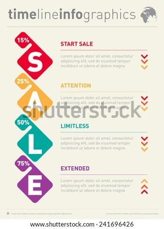 Sale Infographic Time Line Timeline Tendencies Stock Vector (Royalty