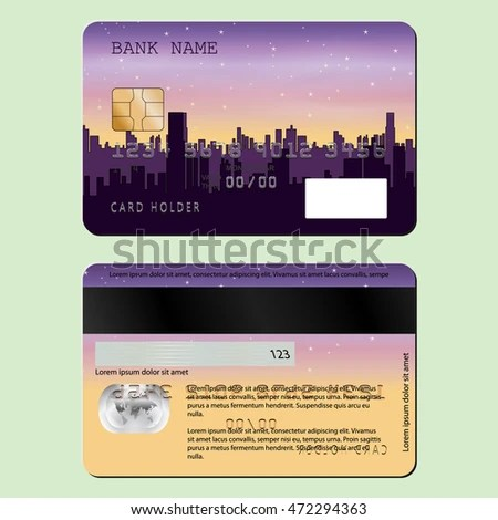 Sample Design Credit Card Night City Stock Vector (Royalty Free