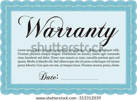 Sample Warranty Certificate Template Complex Border Stock Vector