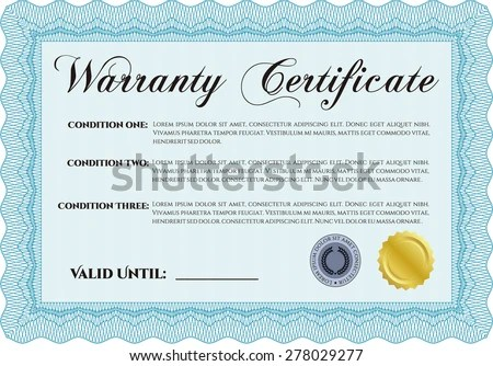 Sample Warranty Certificate Template Easy Print Stock Vector - sample certificate template