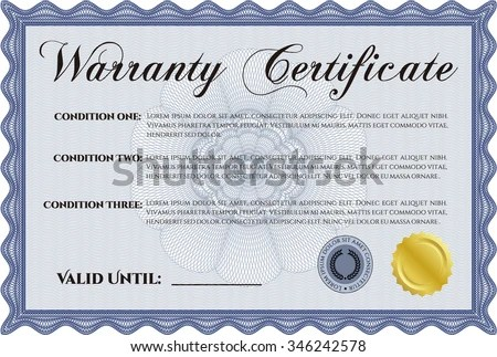 Sample Warranty Certificate Template Perfect Style Stock Vector