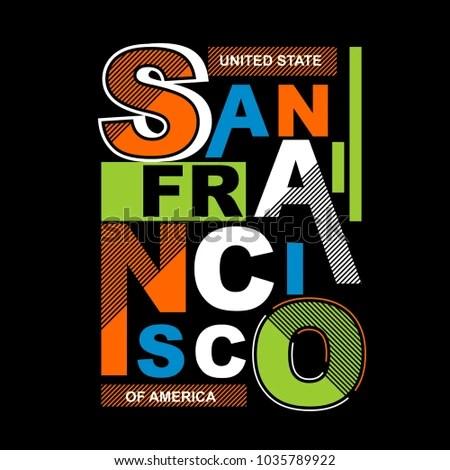 Sanfrancisco Typography Tee Shirt Design Vector Stock Vector