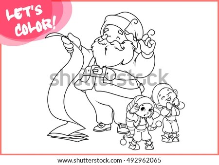 Santa Claus Long Scroll Two Little Stock Vector (Royalty Free