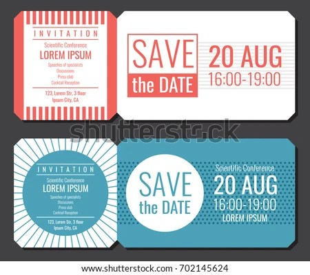 Save Date Minimalist Invitation Ticket Vector Stock Vector (Royalty