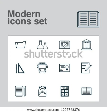 School Icons Set Calculator Essay Writing Stock Vector (Royalty Free