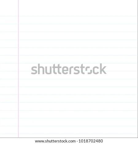 School Notebook Paper Sheet Blue Line Stock Vector (Royalty Free