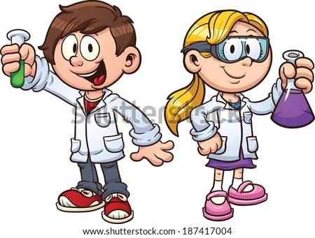 Scientist Kids Vector Clip Art Illustration Stock Vector (Royalty