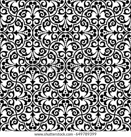 Seamless Abstract Floral Pattern Black White Stock Vector (Royalty