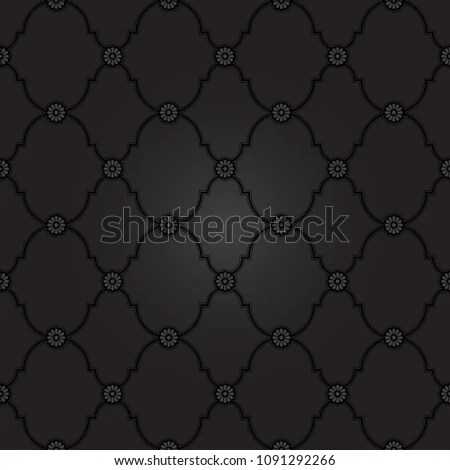 Seamless Black Fancy Background Pattern Classy Stock Vector (Royalty