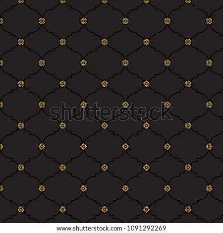 Seamless Black Gold Fancy Background Pattern Stock Vector (Royalty