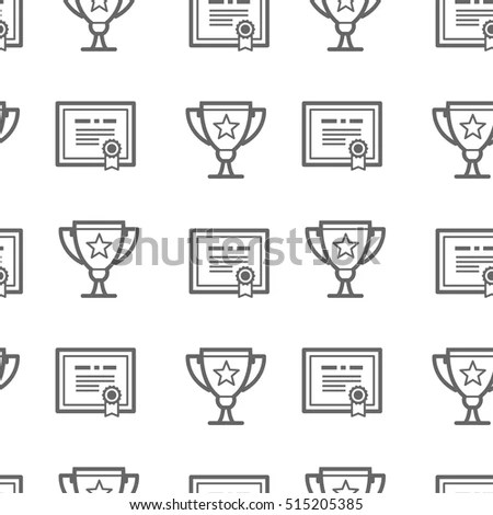Seamless Pattern Certificate Awards Vector Illustration Stock Vector