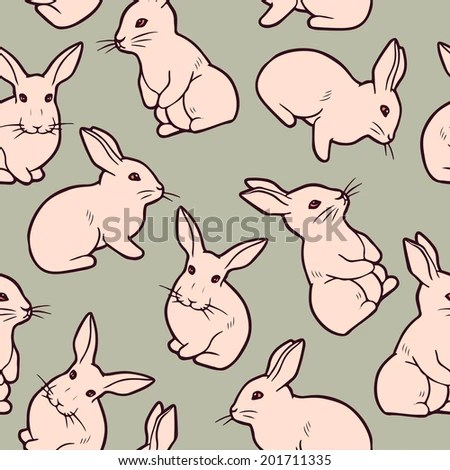Seamless Pattern Cute White Rabbits Vector Stock Vector (Royalty